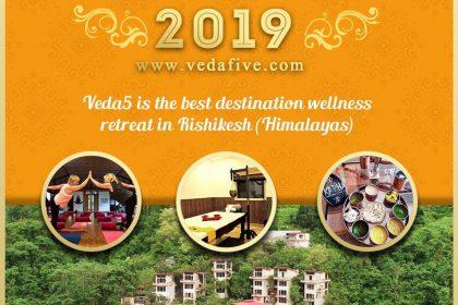 Happy New Year 2019 by Veda5 Luxury Ayurveda Yoga Retreat Rishikesh Himalayas India
