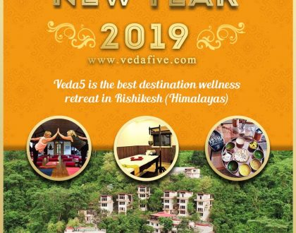 Happy New Year 2019 by Veda5 Luxury Ayurveda Yoga Retreat Rishikesh Himalayas India