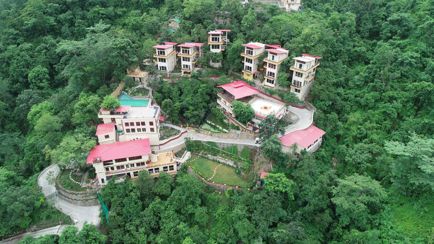Sky Drone View of India Himalayas Rishikesh Veda5 World-Class Luxury Ayurveda and Yoga Retreat