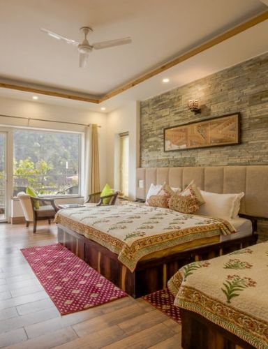 Mountain View Beautiful Spacious Hotel Room - Veda5 Luxury Ayurveda Yoga Retreat Rishikesh Himalayas India
