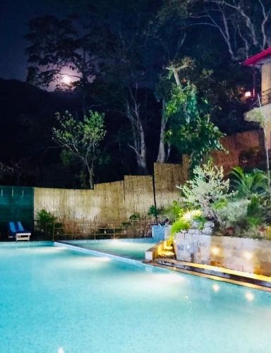 Mountain View Swimming Pool - Veda5 Luxury Ayurveda Yoga Retreat Rishikesh Himalayas India