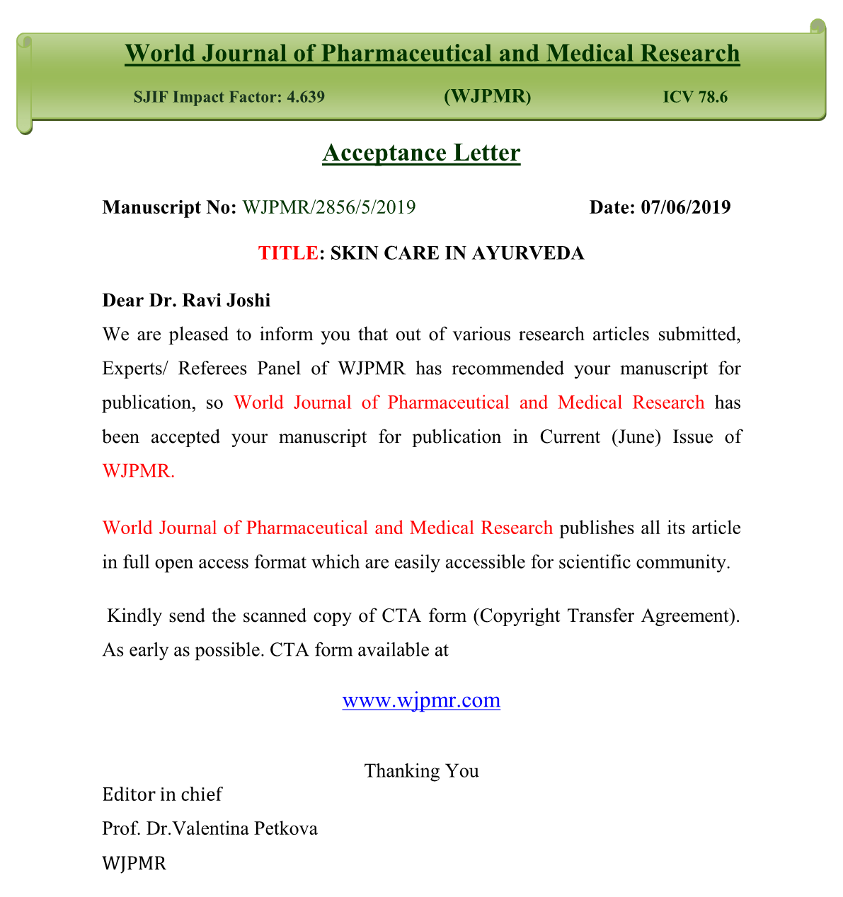 Veda5 Doctor Published Ayurveda Research paper in the World Journal of Ayurveda and Pharmaceutical Research