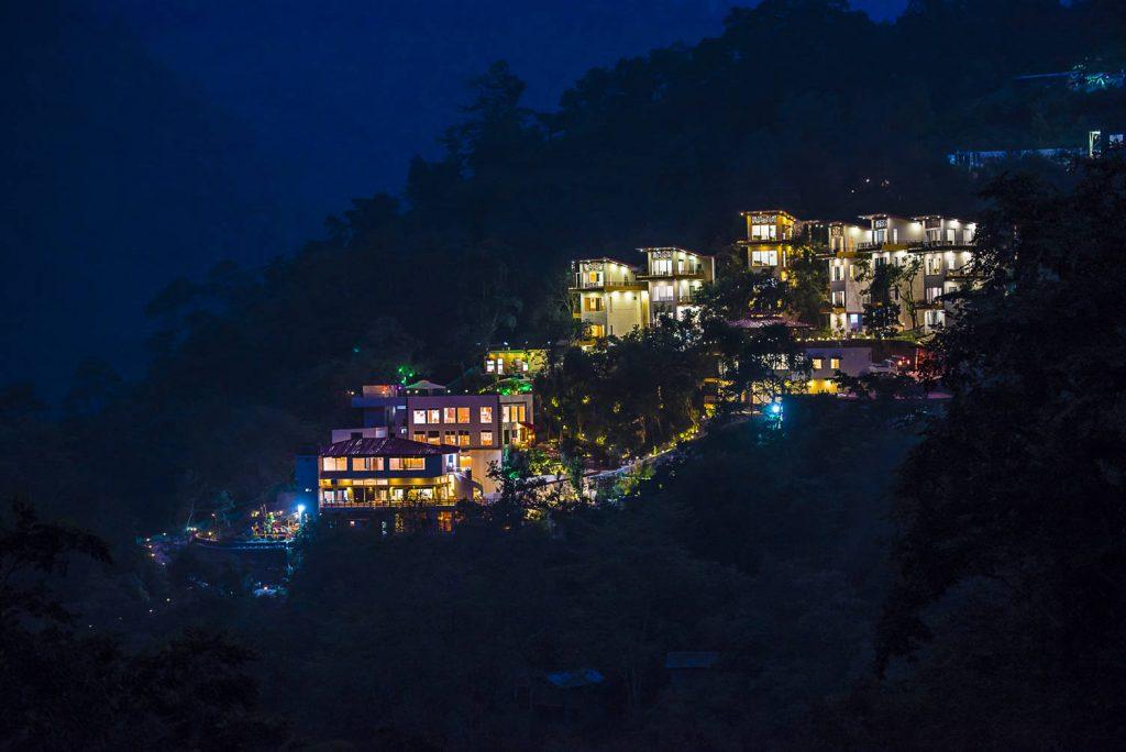 Beautiful Night View of Veda5 Luxury Ayurveda & Yoga Wellness Retreat, Resort & Hotel in Rishikesh, India