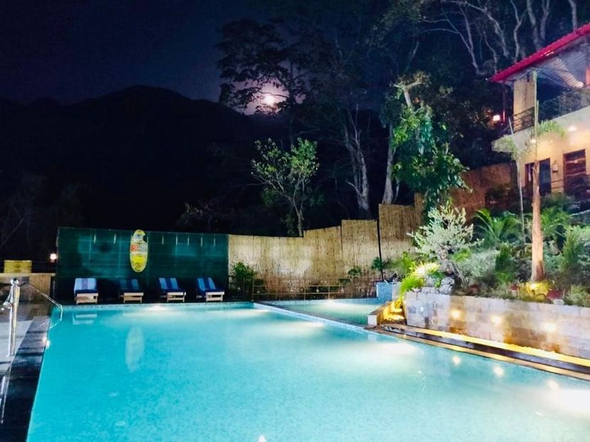 Beautiful Swimming Pool in Rishikesh at Veda5 Luxury Ayurveda, Panchakarma & Yoga Retreat in Rishikesh, Himalayas, India