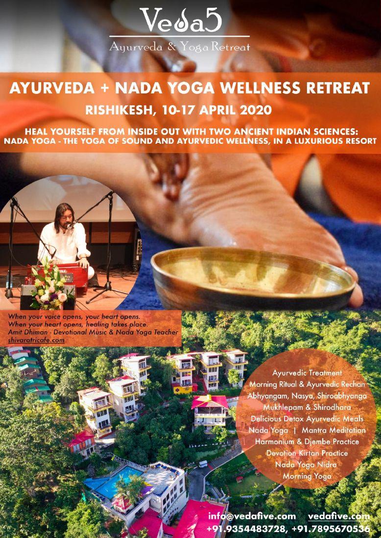 ORIGINAL NADA YOGA WELLNESS RETREAT April 2020 at Veda5 in Rishikesh India