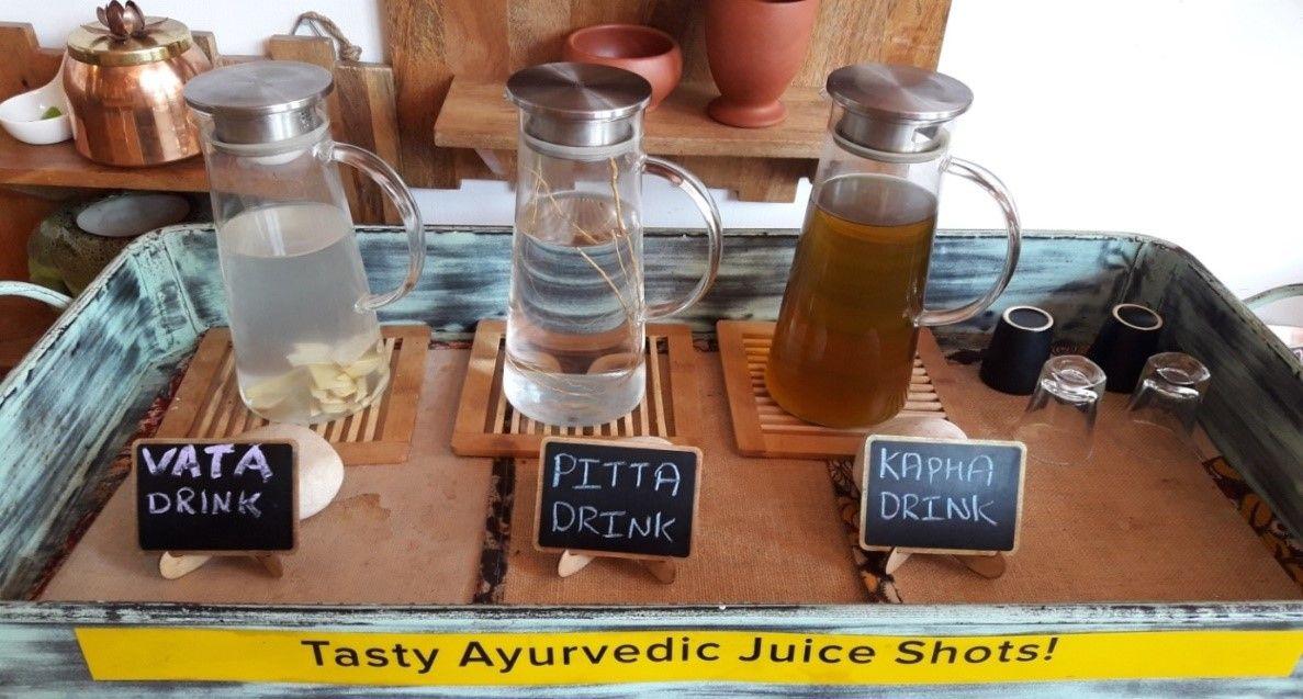 Vata, Pitta and Kapha Ayurvedic Drinks at Veda5 Retreat in Rishikesh, India