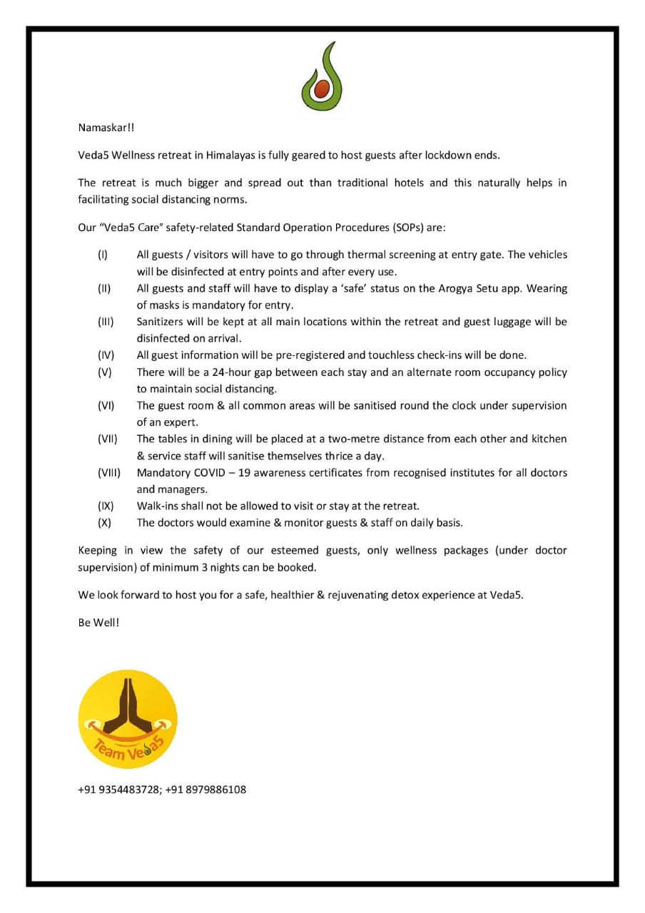 Veda5 Rishikesh Safety related SOPs