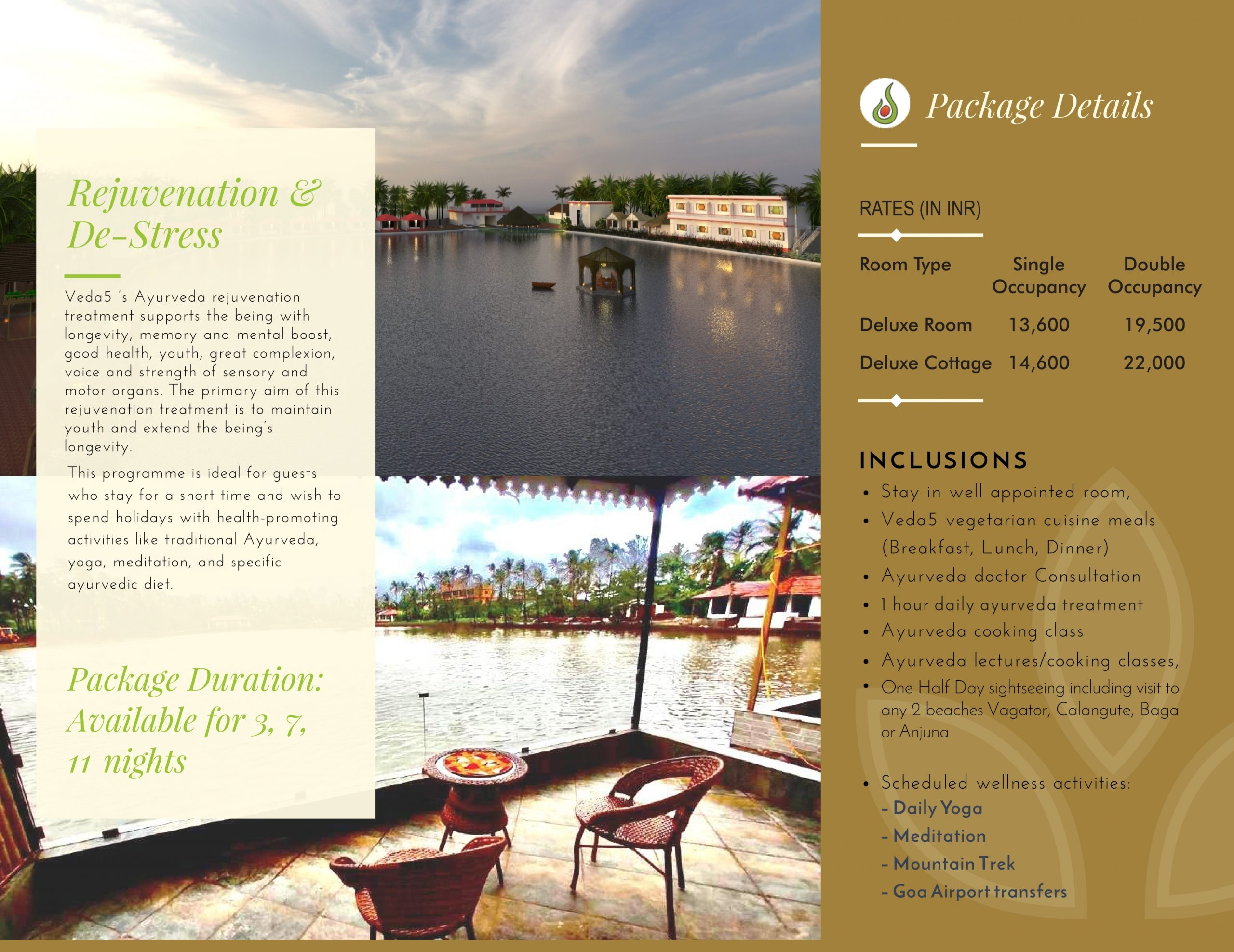 Veda5 Wellness Retreat and Spa in Arambol Goa India for Rejuvenation and De-stress Ayurveda Treatments and Yoga and Hotel Resort for Vacation